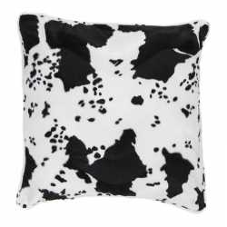 Sierkussen fluweel koeienprint zwart/wit 47 bij 47