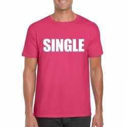 Single/ vrijgezel tekst t shirt roze heren