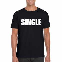 Single/ vrijgezel tekst t shirt zwart heren