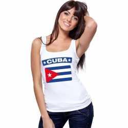 Singlet shirt/ tanktop cubaanse vlag wit dames