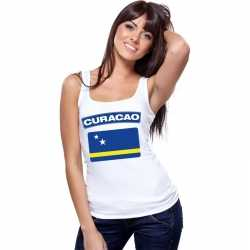 Singlet shirt/ tanktop curacao vlag wit dames