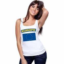 Singlet shirt/ tanktop europese vlag wit dames