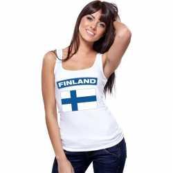 Singlet shirt/ tanktop finse vlag wit dames