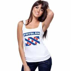 Singlet shirt/ tanktop friese vlag wit dames