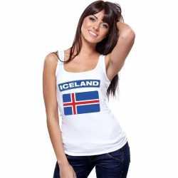 Singlet shirt/ tanktop ijslandse vlag wit dames