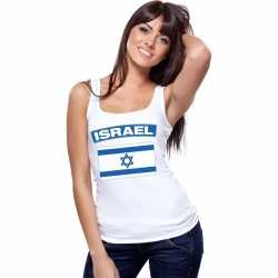 Singlet shirt/ tanktop israelische vlag wit dames