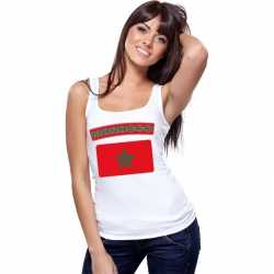 Singlet shirt/ tanktop marokaanse vlag wit dames