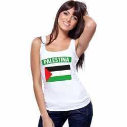 Singlet shirt/ tanktop palestijnse vlag wit dames