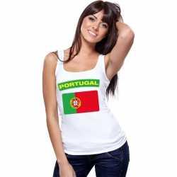 Singlet shirt/ tanktop portugese vlag wit dames