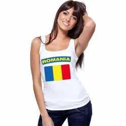 Singlet shirt/ tanktop roemeense vlag wit dames