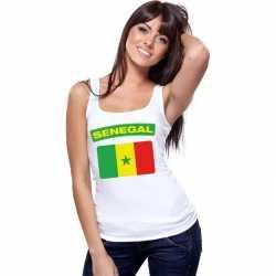 Singlet shirt/ tanktop senegalese vlag wit dames