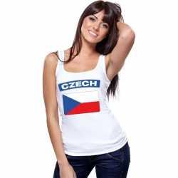 Singlet shirt/ tanktop tsjechische vlag wit dames
