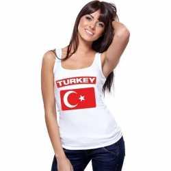 Singlet shirt/ tanktop turkse vlag wit dames
