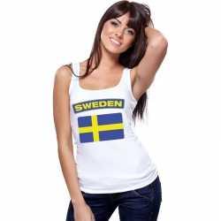 Singlet shirt/ tanktop zweedse vlag wit dames