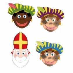 Sinterklaas 3x zwarte pieten + sinterklaas maskers setje