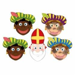 Sinterklaas 4x zwarte pieten + sinterklaas maskers setje