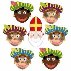 Sinterklaas 6x zwarte pieten + sinterklaas maskers setje