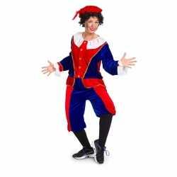 Sinterklaas dames pietenpak rood/blauw medium