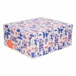 Sinterklaas kadopapier blauw/wit/oranje 200 bij 70 op rol