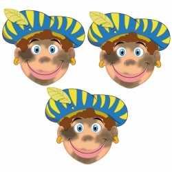 Sinterklaas roetveeg pieten maskers setje 3 stuks