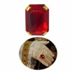 Sinterklaas verkleed ring goud/rood rechthoekig