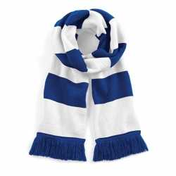 Sjaal brede streep blauw/wit