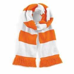 Sjaal brede streep oranje/wit