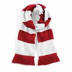 Sjaal brede streep rood/wit