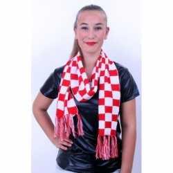 Sjaal rood/wit geblokt 160 bij 17