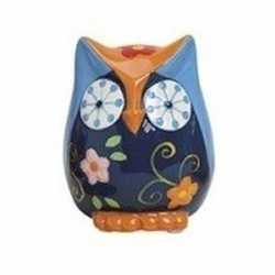 Spaarpot uil blauw/oranje van keramiek 9
