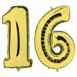 Sweet 16 gouden folie ballonnen 88 leeftijd/cijfer 16 jaar