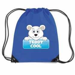 Teddy cool de ijsbeer rugtas / gymtas blauw kinderen