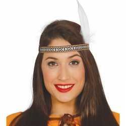Toppers indianen verkleed hoofdband witte veer volwassenen
