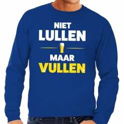 Toppers niet lullen maar vullen tekst sweater blauw