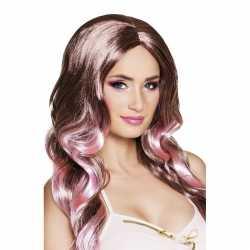 Tweekleurige damespruik krullen bruin roze