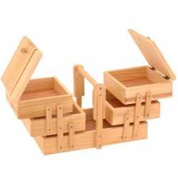 Uitklapbare houten naaikist handgreep