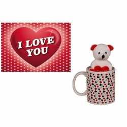 Valentijnscadeau beker knuffelbeer valentijnskaart