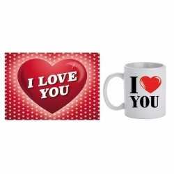 Valentijnsdag cadeau i love you beker / mok valentijnskaart
