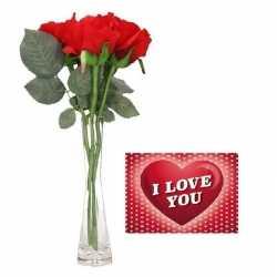 Valentijnsdag cadeau vaas 3 rode rozen valentijnskaart