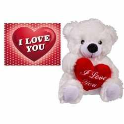 Valentijnsdag cadeau wit beertje hartje valentijnskaart