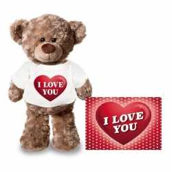 Valentijnskaart knuffelbeer 24 i love you hartje shirt