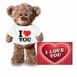 Valentijnskaart knuffelbeer 24 i love you shirt