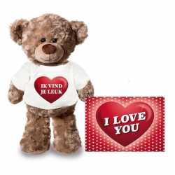 Valentijnskaart knuffelbeer 24 ik vind je leuk shirt