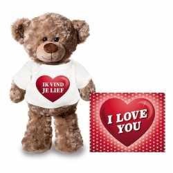 Valentijnskaart knuffelbeer 24 ik vind je lief shirt