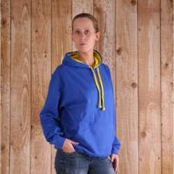 Varsity dames hoodie kobalt geel