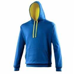 Varsity heren hoodie kobalt gele capuchon