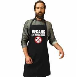 Vegans are not allowed barbecueschort/ keukenschort zwart heren