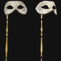 Venetiaans barok oogmasker wit op stok