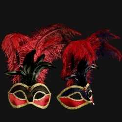 Venetiaans fluweel veren oogmasker bordeaux/zwart