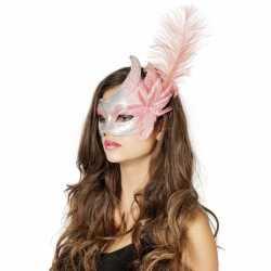 Venetiaans oogmasker roze/zilver veer